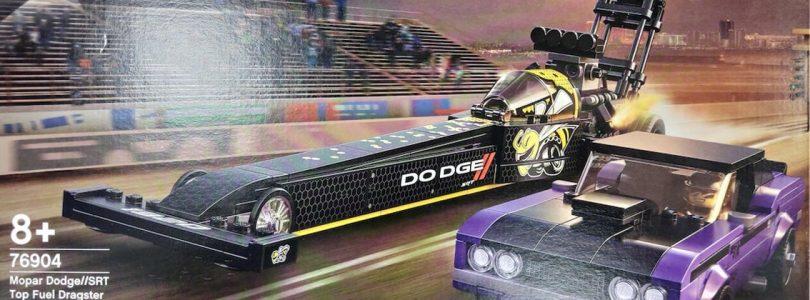 Eerste beelden LEGO 76904 Mopar Dodge//SRT Top Fuel Dragster & 1970 Dodge Challenger T/A